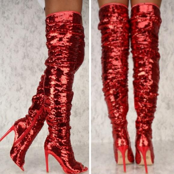 c3c5f839d4 Sexy Red Sequin Over The Knee Boots🚨FINAL PRICE🚨. Boutique.  M_5bc528bcf63eea6208a3acae. M_5c547b3ca5d7c609301defb5.  M_5c5479b61b32947365d37c6d